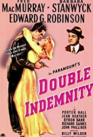 Edward G. Robinson, Barbara Stanwyck, and Fred MacMurray in Double Indemnity (1944)