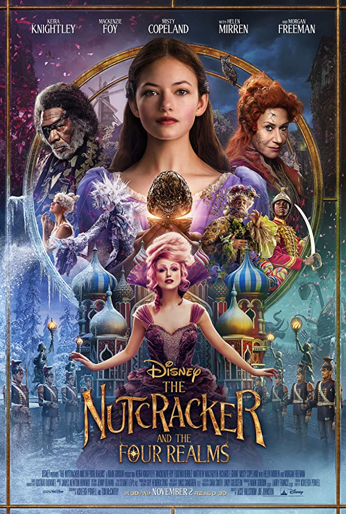 Morgan Freeman, Helen Mirren, Richard E. Grant, Eugenio Derbez, Keira Knightley, Mackenzie Foy, Misty Copeland, and Jayden Fowora-Knight in The Nutcracker and the Four Realms (2018)