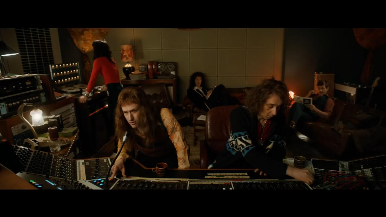 Joseph Mazzello, Allen Leech, Rami Malek, Gwilym Lee, and Philip Andrew in Bohemian Rhapsody (2018)