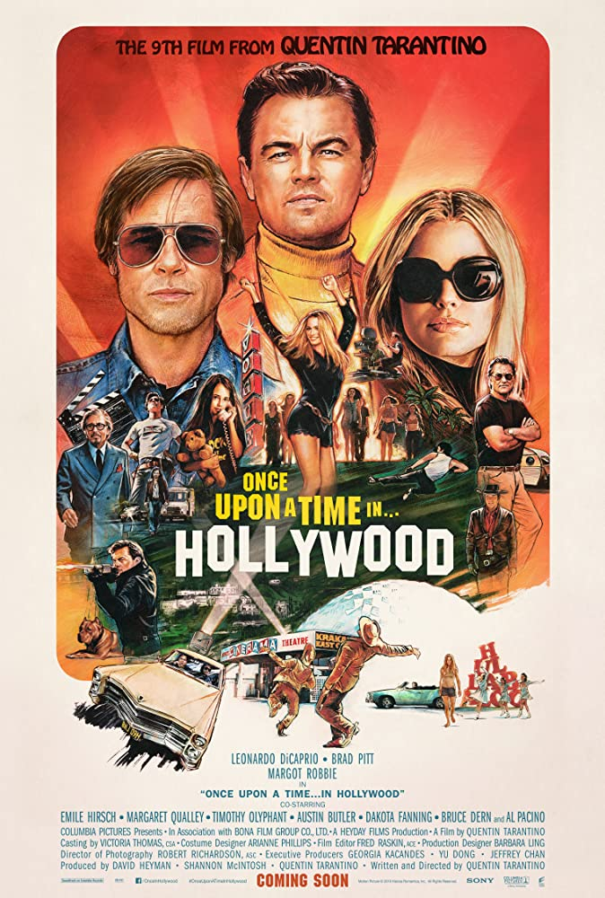 Brad Pitt, Leonardo DiCaprio, Al Pacino, Quentin Tarantino, Kurt Russell, Damon Herriman, Timothy Olyphant, Mike Moh, Margot Robbie, Margaret Qualley, and Julia Butters in Once Upon a Time... in Hollywood (2019)