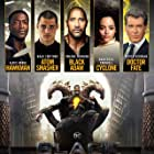 Pierce Brosnan, Aldis Hodge, Dwayne Johnson, Noah Centineo, and Quintessa Swindell in Black Adam (2022)