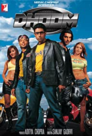 Abhishek Bachchan, Uday Chopra, Esha Deol, Rimi Sen, and John Abraham in Dhoom (2004)