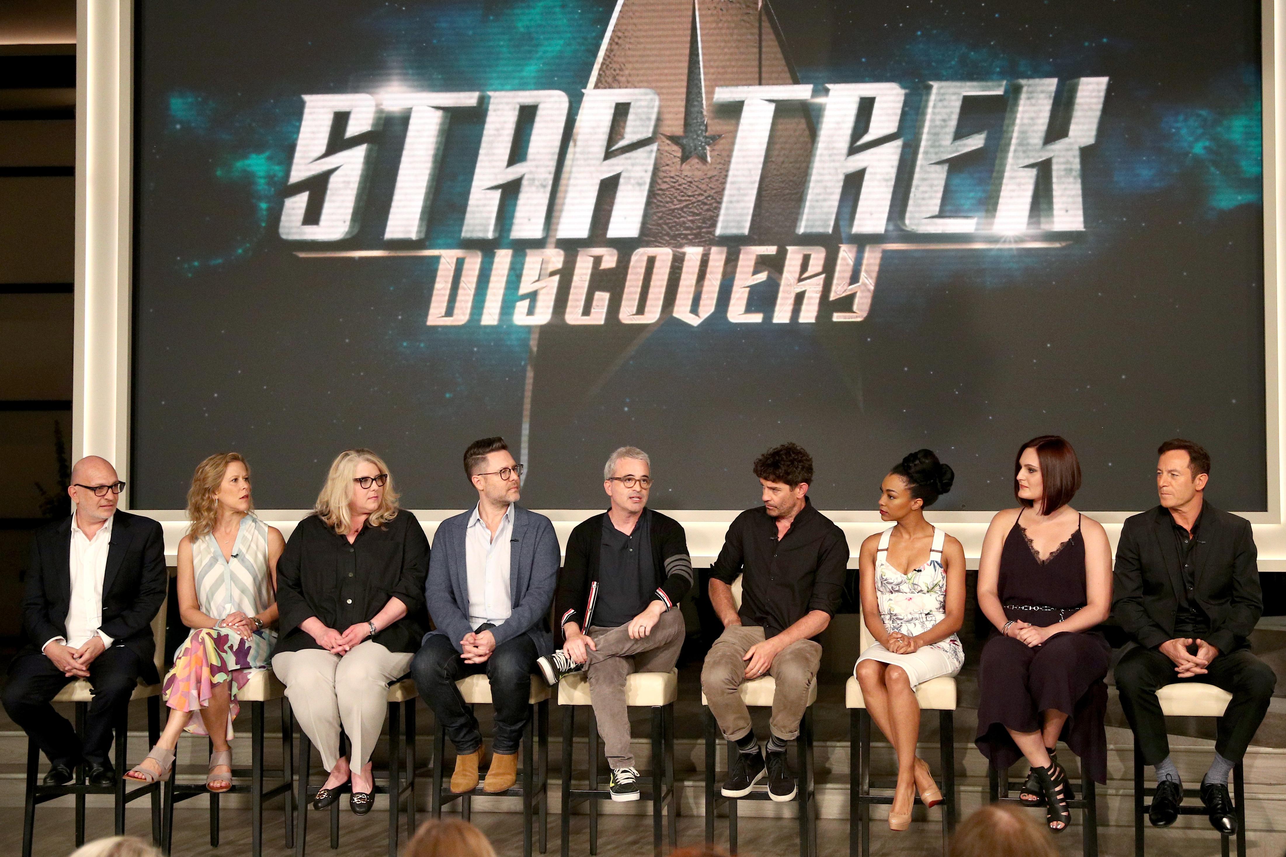 Jason Isaacs, James Frain, Akiva Goldsman, Aaron Harberts, Alex Kurtzman, Mary Chieffo, Heather Kadin, and Frederick M. Brown at an event for Star Trek: Discovery (2017)