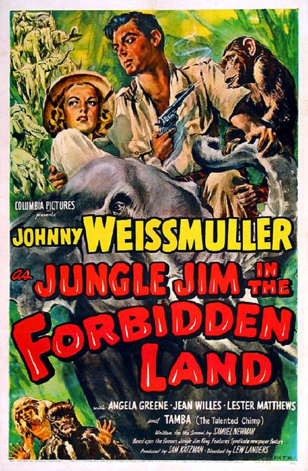 Angela Greene and Johnny Weissmuller in Jungle Jim in the Forbidden Land (1952)