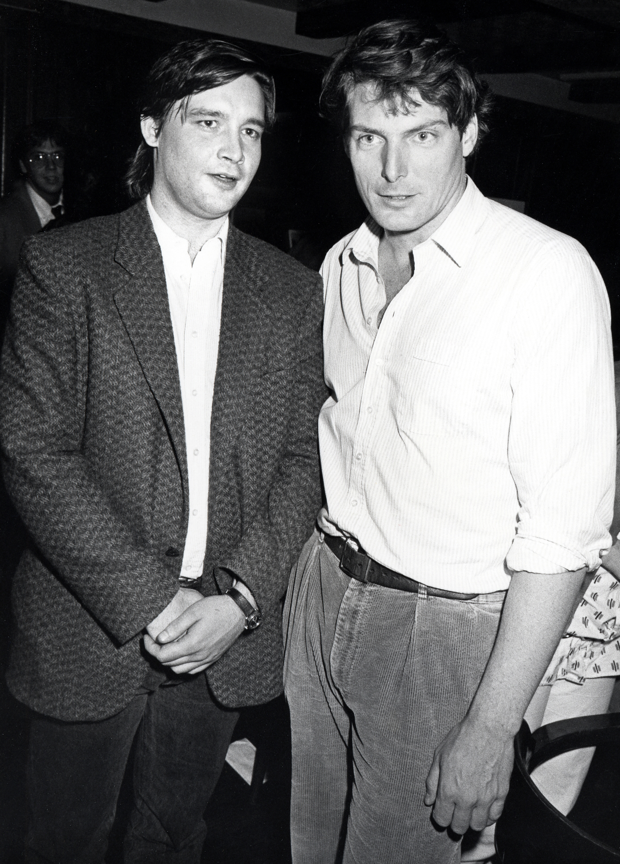 Christopher Reeve and John Murray at an event for Moving Violations (1985)