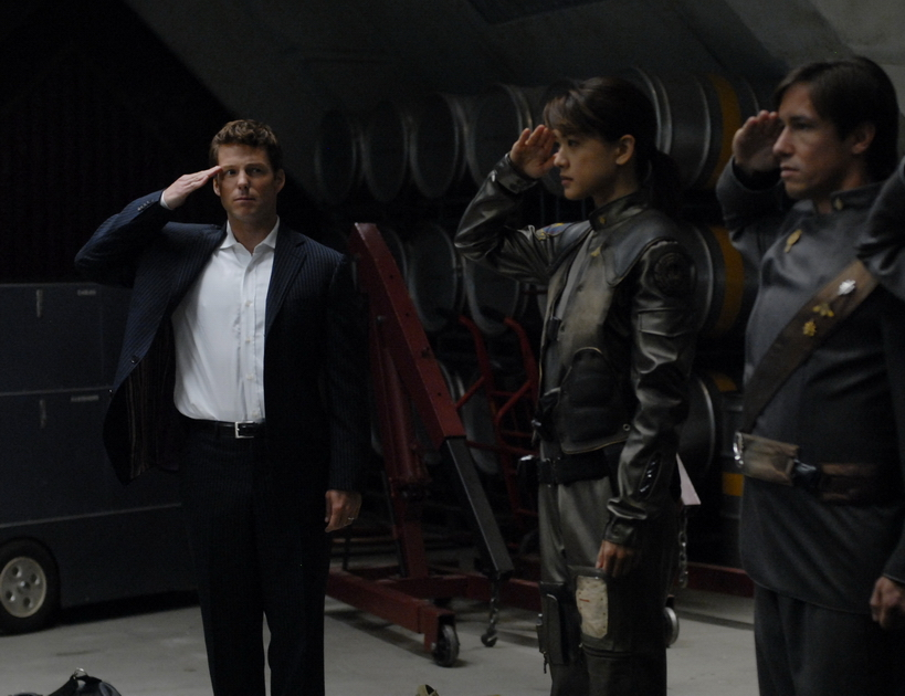 Jamie Bamber and Grace Park in Battlestar Galactica (2004)