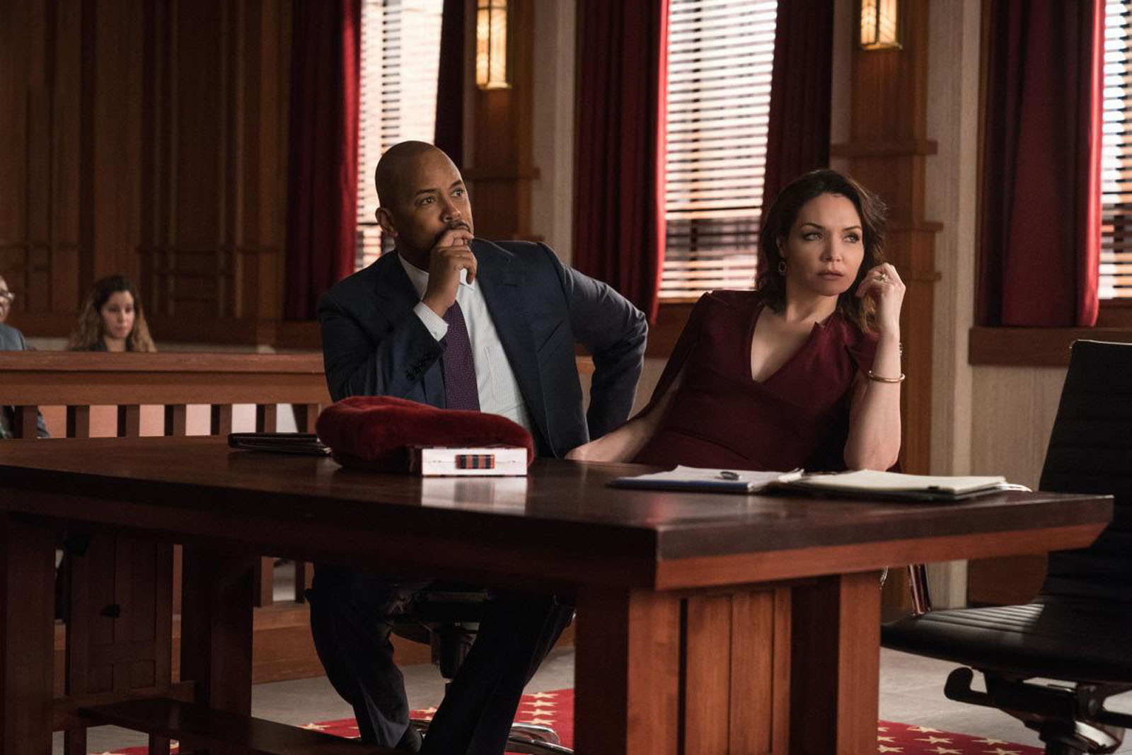 """Day 485"""" -- Episode 212 -- Pictured (l-r): Michael Boatman as Julius Cain; Katrina Lenk as Naftali Amado of the CBS All Access series THE GOOD FIGHT"""