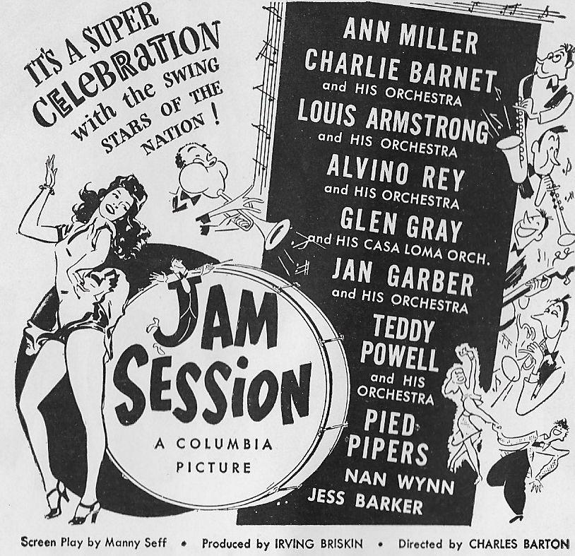 Louis Armstrong, Charlie Barnet, Jan Garber, Glen Gray, Ann Miller, Teddy Powell, and Alvino Rey in Jam Session (1944)