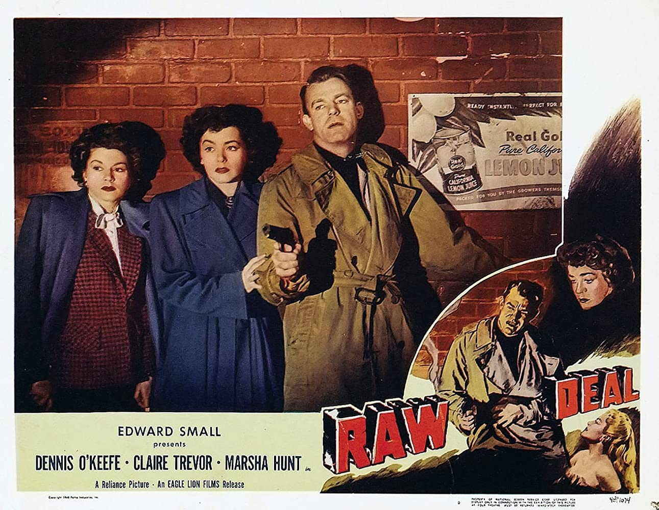 Marsha Hunt, Dennis O'Keefe, and Claire Trevor in Raw Deal (1948)