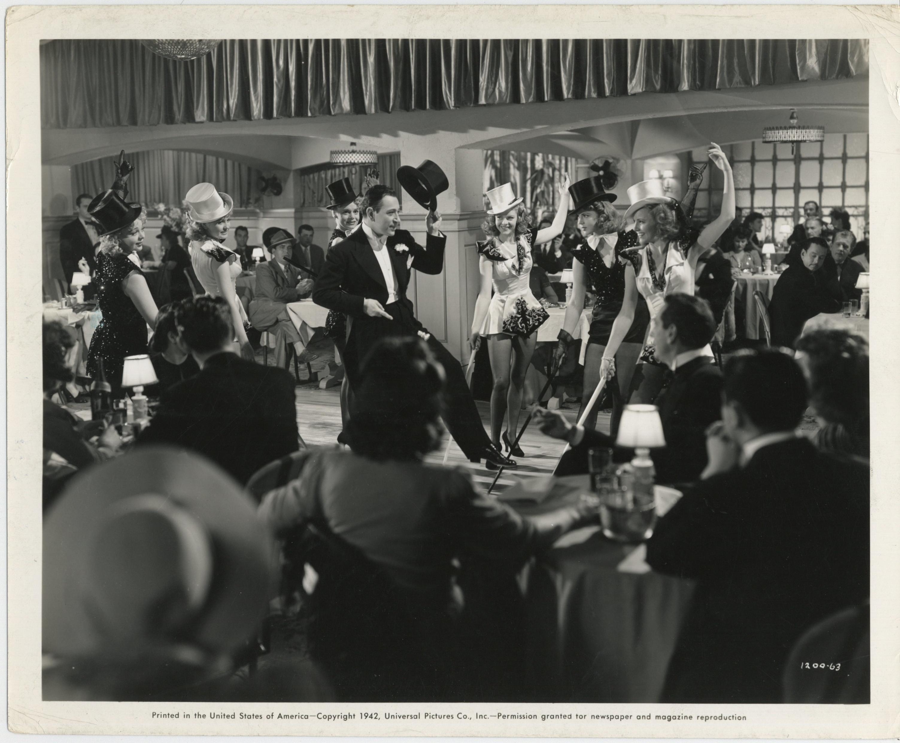 Iris Adrian, Janet Blair, Anne Gwynne, Dorothy Moore, George Raft, and Marie Wilson in Broadway (1942)