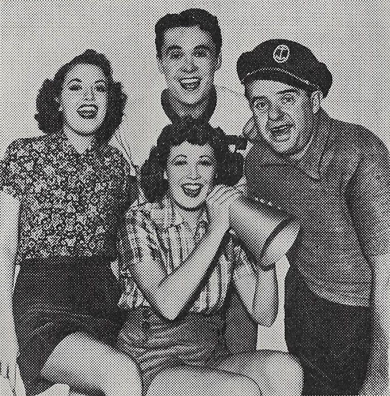 Patricia Farr, Ruth Hilliard, Scott Kolk, and Gene Morgan in All American Sweetheart (1937)