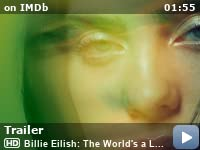 """Billie Eilish: The World's a Little Blurry -- Directed by R.J. Cutler. With Billie Eilish. """"Billie Eilish: The World's A Little Blurry"""" offers an intimate look at the singer-songwriter's journey, navigating life on the road, on stage, and at home, while creating her debut album."""