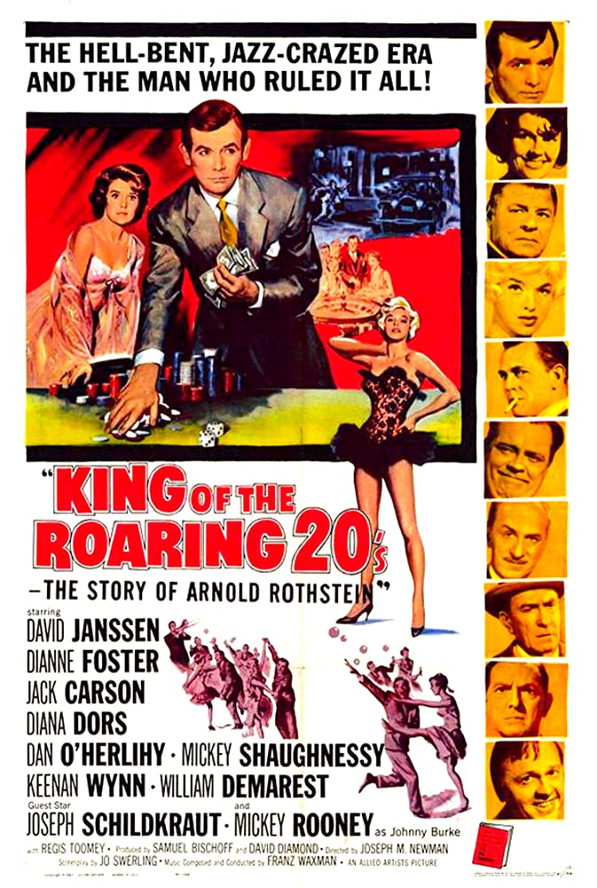 Mickey Rooney, Diana Dors, Jack Carson, William Demarest, Dianne Foster, David Janssen, Dan O'Herlihy, Joseph Schildkraut, Mickey Shaughnessy, and Keenan Wynn in King of the Roaring 20's: The Story of Arnold Rothstein (1961)
