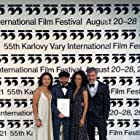 Lourdes Faberes, Philip Barantini, Vinette Robinson and Bart Ruspoli at the Closing ceremony of the 55th Karlovy Vary International Film Festival