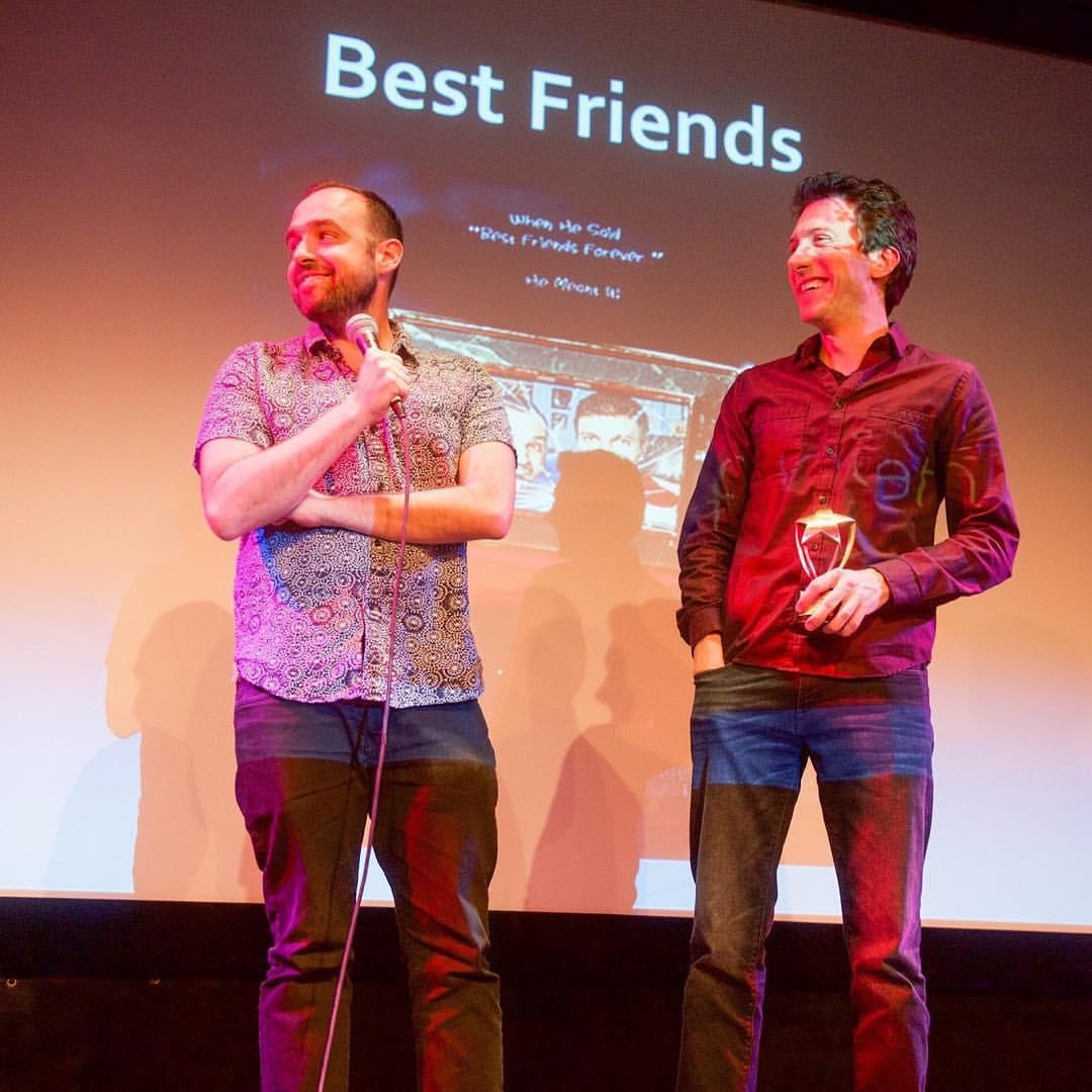 Skyler Caleb and Josh Edelman winning Best Web Series in NYC for Best Friends (2016)