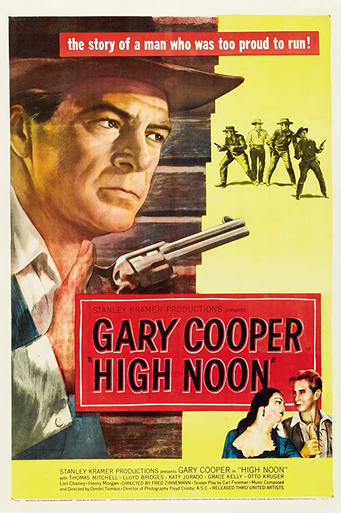 Gary Cooper, Lloyd Bridges, Lee Van Cleef, Katy Jurado, Ian MacDonald, Robert J. Wilke, and Sheb Wooley in High Noon (1952)