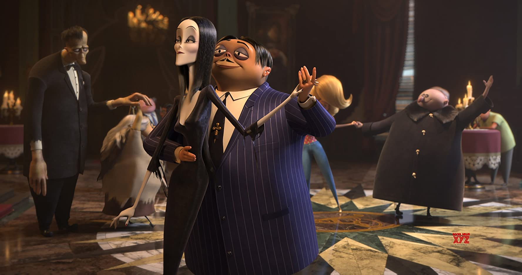Charlize Theron and Oscar Isaac in The Addams Family (2019)