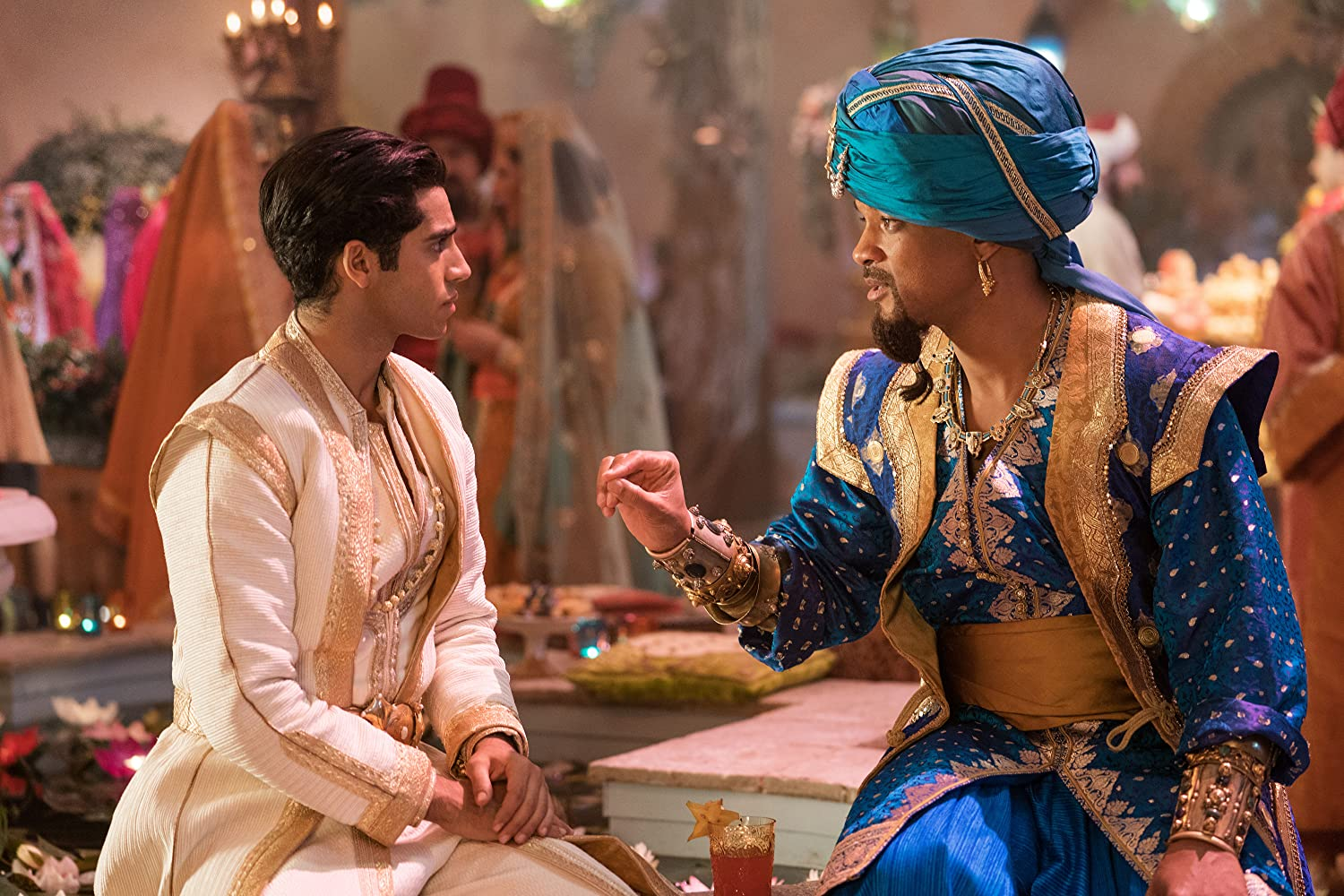 Will Smith and Mena Massoud in Aladdin (2019)