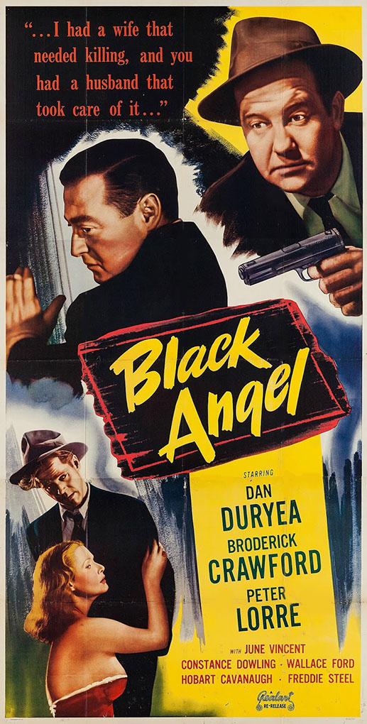 Peter Lorre, Broderick Crawford, Dan Duryea, and Constance Dowling in Black Angel (1946)