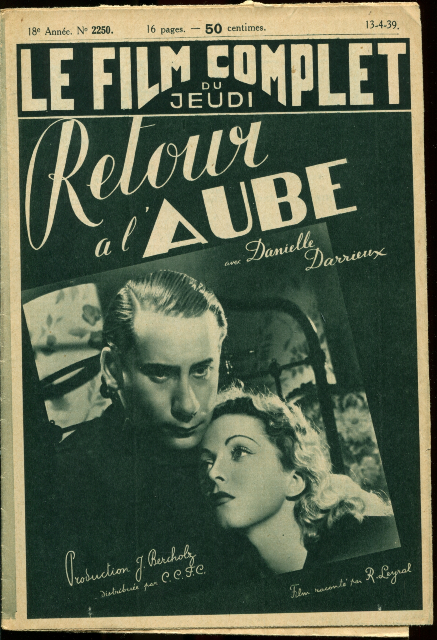 Danielle Darrieux and Pierre Dux in Retour à l'aube (1938)
