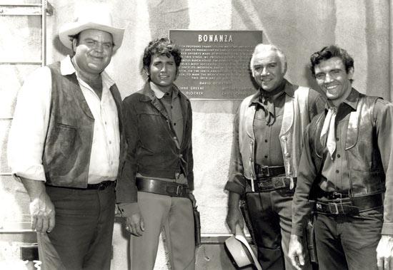 Lorne Greene, Michael Landon, Dan Blocker, and David Canary in Bonanza (1959)