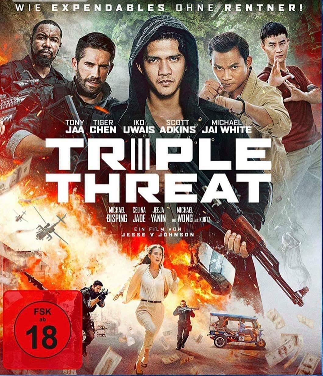 Scott Adkins, Tiger Hu Chen, Michael Jai White, Tony Jaa, Celina Jade, and Iko Uwais in Triple Threat (2019)