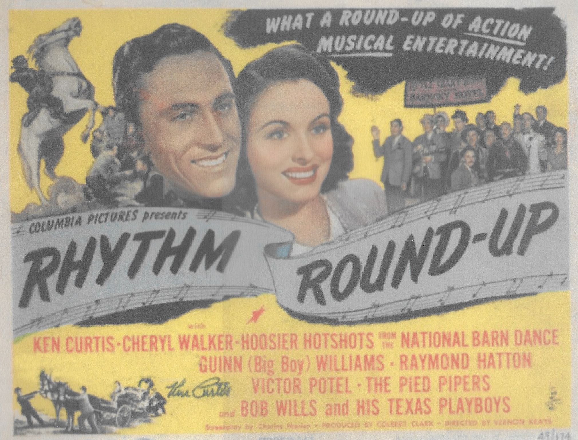 Ken Curtis, Gil Taylor, Paul Trietsch, Ken Trietsch, Cheryl Walker, Charles Ward, and The Pied Pipers in Rhythm Round-Up (1945)