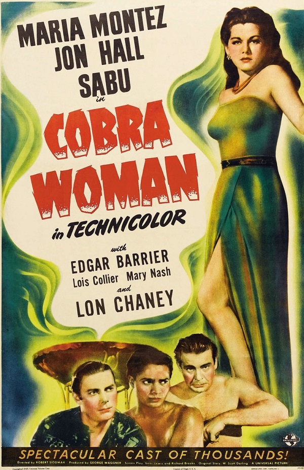 Lon Chaney Jr., Jon Hall, Maria Montez, and Sabu in Cobra Woman (1944)