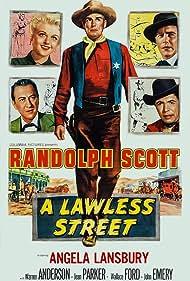 Randolph Scott, Angela Lansbury, Warner Anderson, John Emery, and Michael Pate in A Lawless Street (1955)