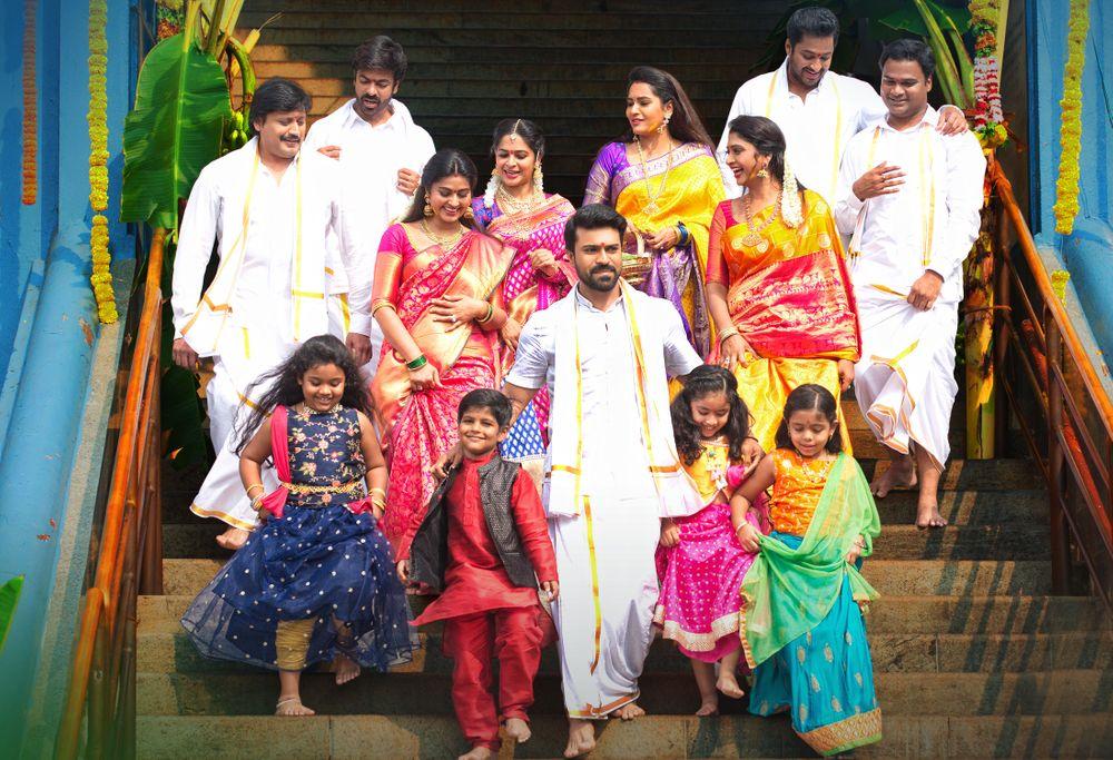 Prashanth, Sneha, Madhumitha, Aryan Rajesh, Ram Charan, Ravi Varma, and Madhunandan in Vinaya Vidheya Rama (2019)