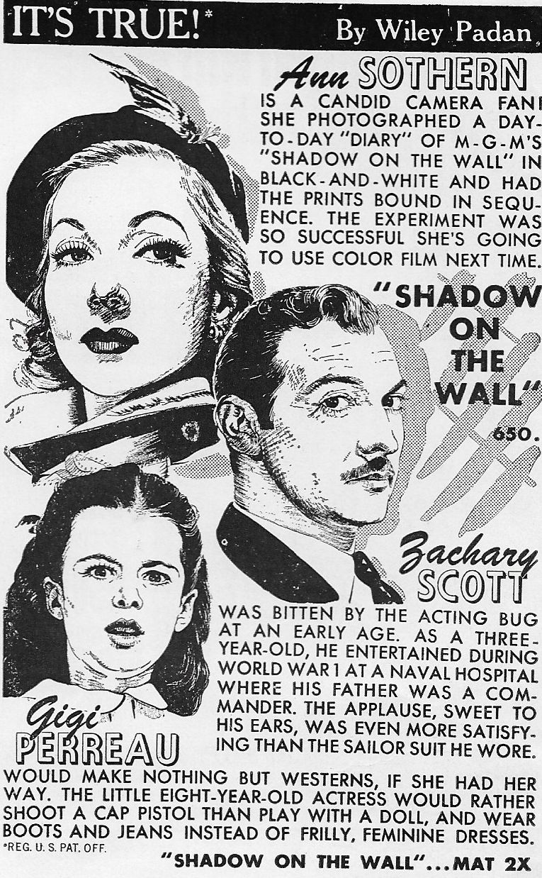 Gigi Perreau, Zachary Scott, and Ann Sothern in Shadow on the Wall (1950)