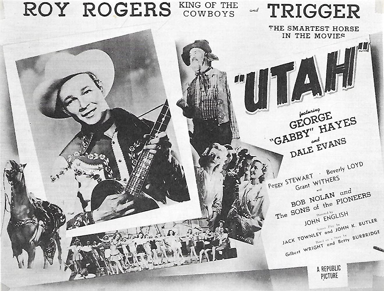 Roy Rogers, Dale Evans, George 'Gabby' Hayes, and Peggy Stewart in Utah (1945)