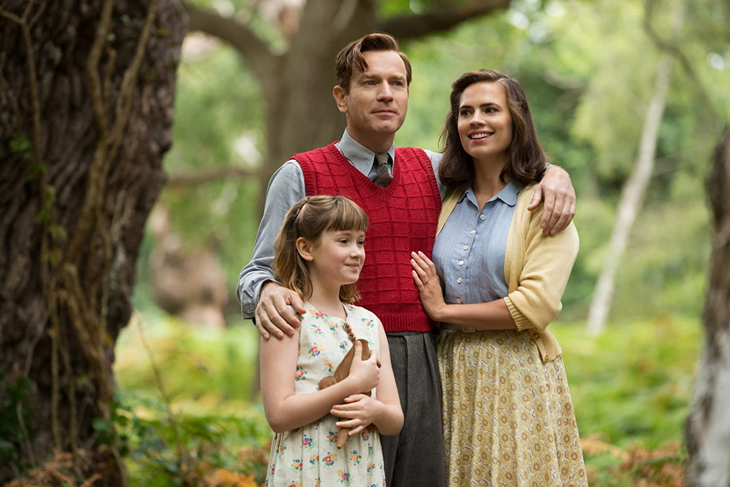 Ewan McGregor, Hayley Atwell, and Bronte Carmichael in Christopher Robin (2018)