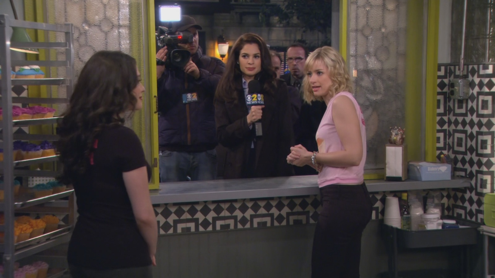Still of Paula Christensen, Kat Dennings and Beth Behrs in 2 Broke Girls And The Cupcake Captives