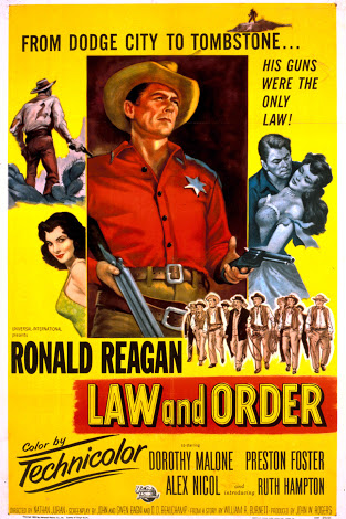 Ronald Reagan, Ruth Hampton, and Dorothy Malone in Law and Order (1953)