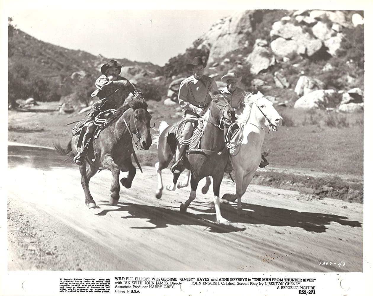 Bill Elliott, George 'Gabby' Hayes, and John James in The Man from Thunder River (1943)