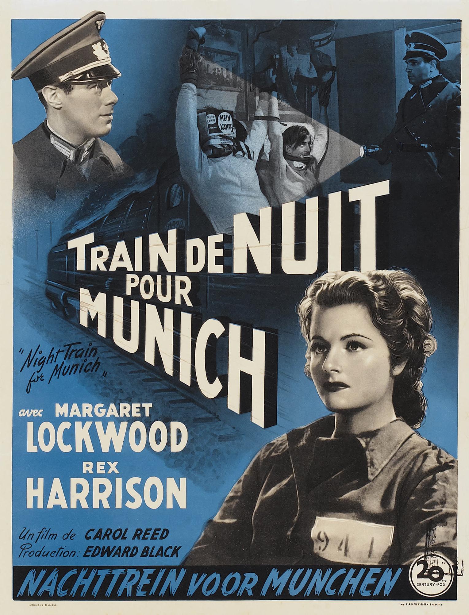 Night Train to Munich aka Train de nuit pour Munich (1940) Belgian poster