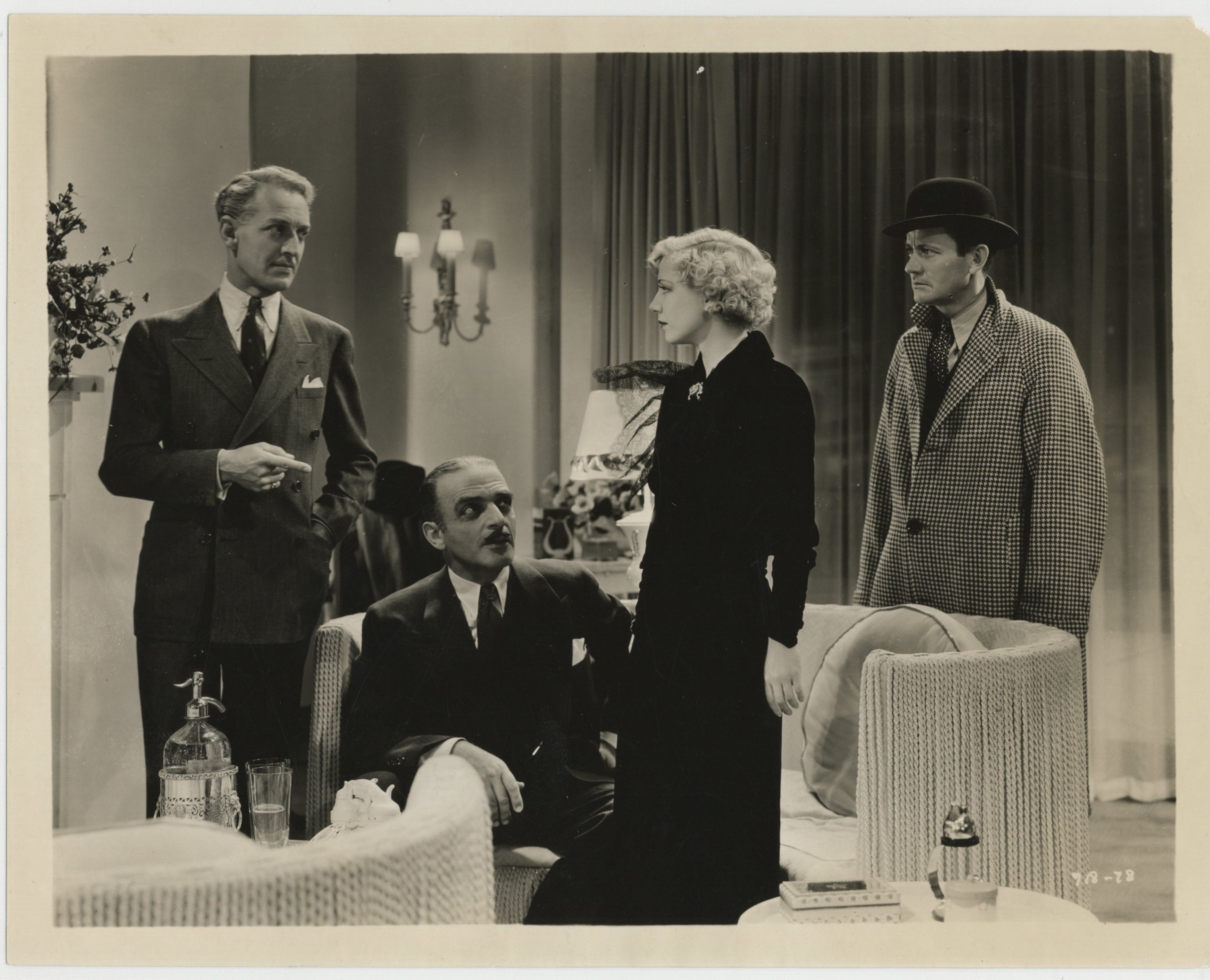 C. Henry Gordon, Isabel Jewell, Roscoe Karns, and Otto Kruger in The Women in His Life (1933)