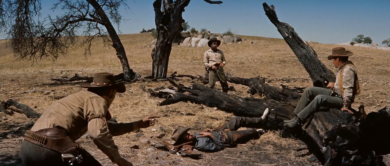 Buff Brady, Jim Burk, Chuck Connors, and Chuck Hayward in The Big Country (1958)