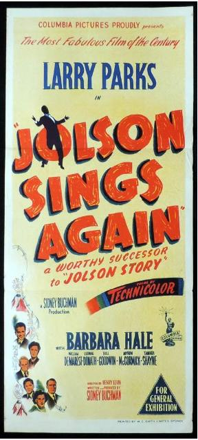 William Demarest, Barbara Hale, and Larry Parks in Jolson Sings Again (1949)