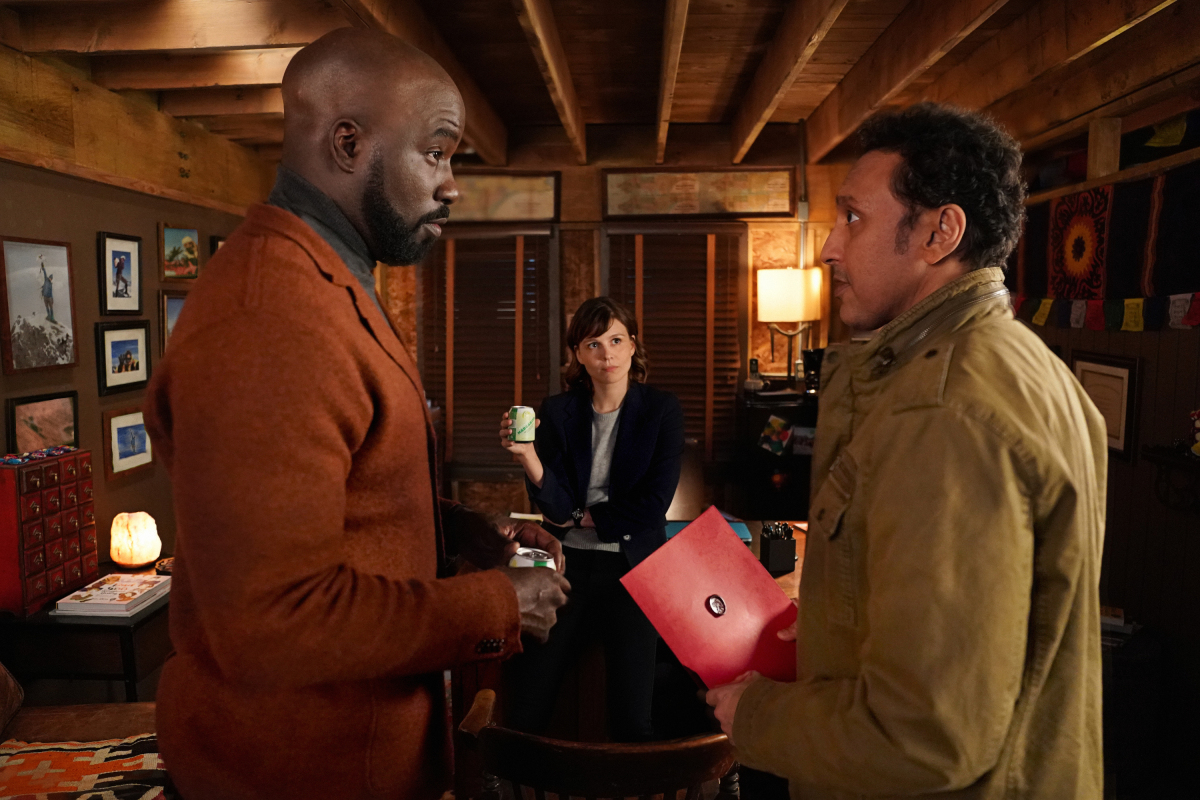 Aasif Mandvi with Mike Colter and Katja Herbers on EVIL