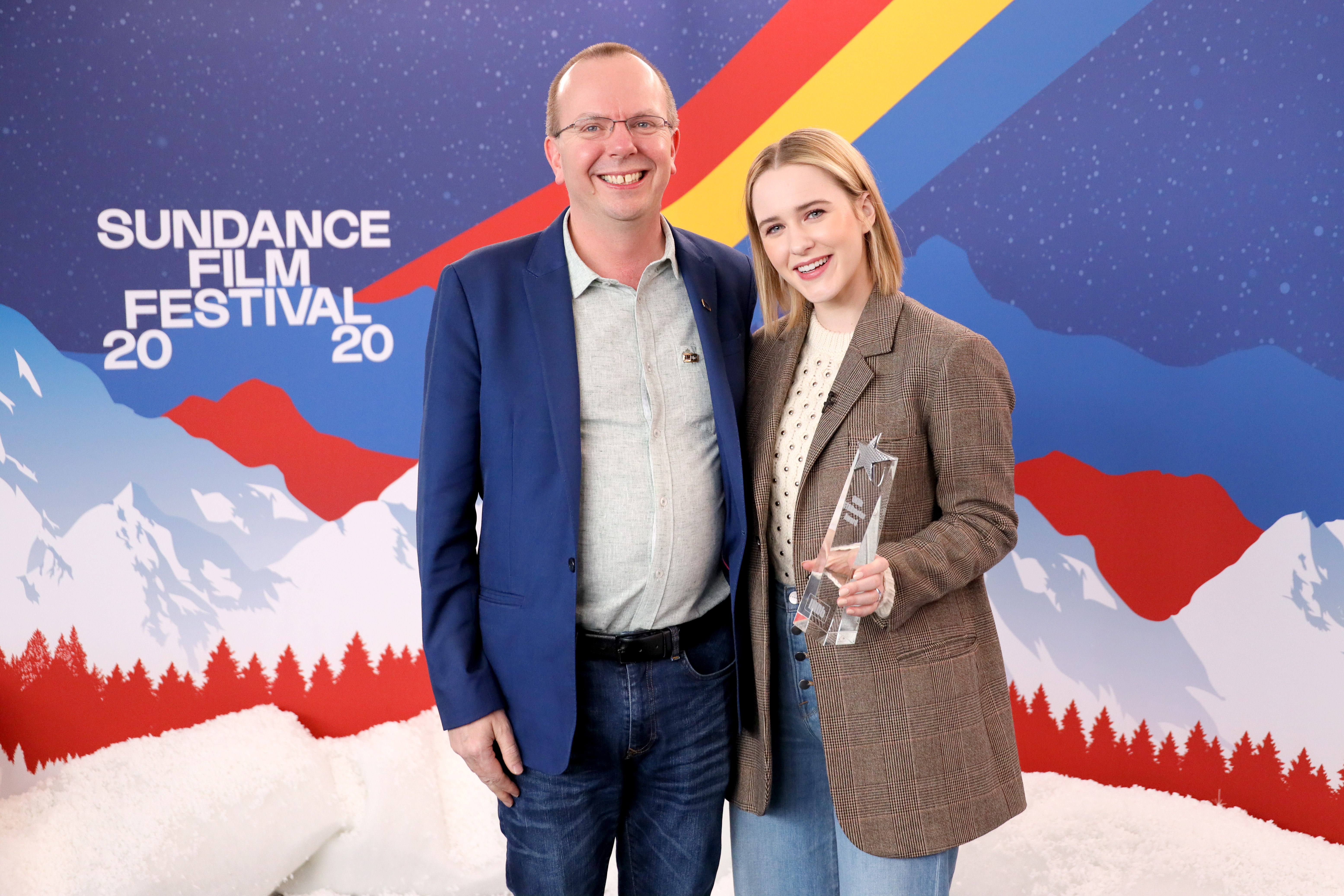 Col Needham and Rachel Brosnahan at an event for The IMDb Studio at Acura Festival Village (2020)