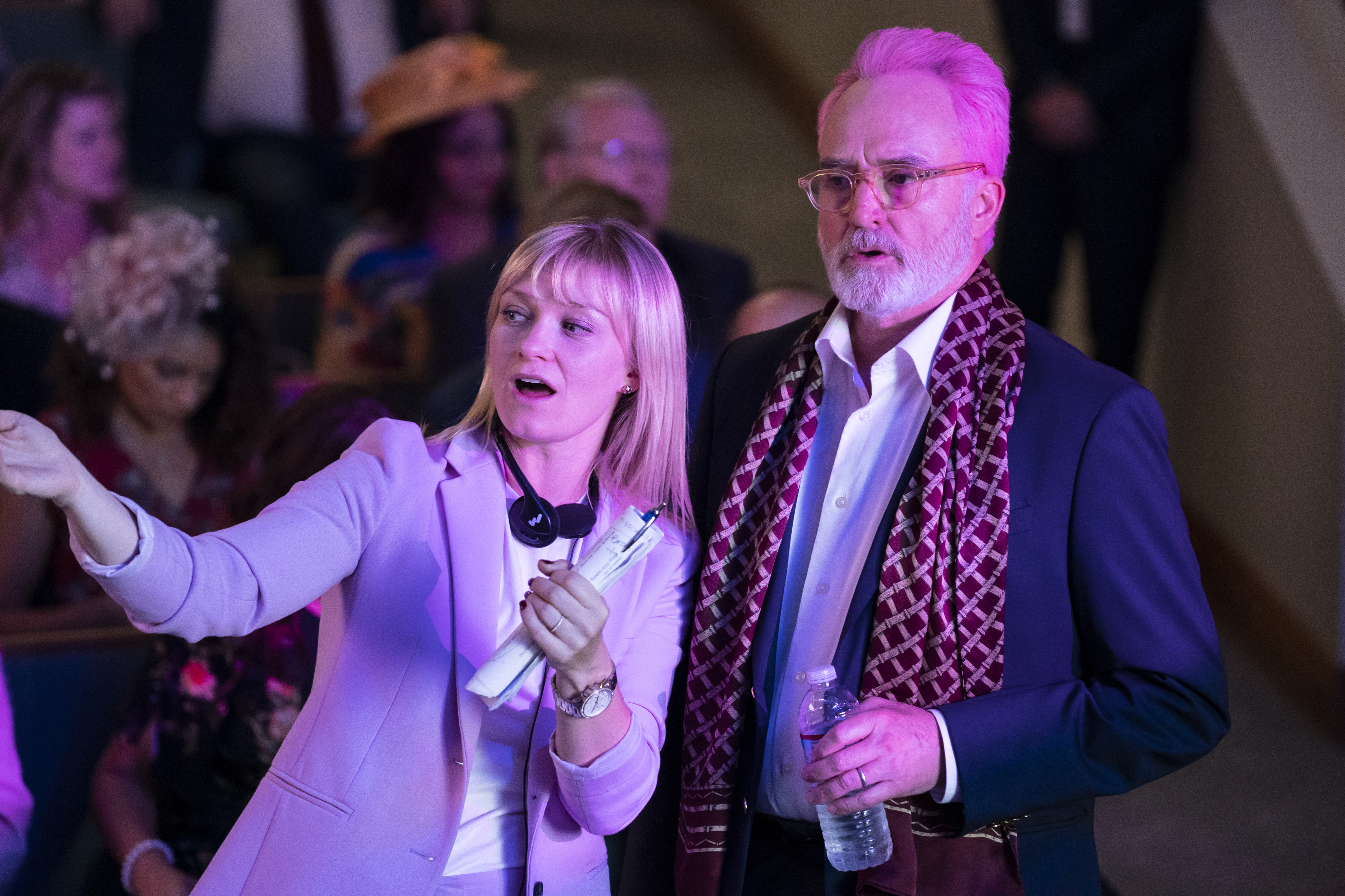 """Katie Locke O'Brien with Bradley Whitford on set for Perfect Harmony """"Rivalry Week"""""""