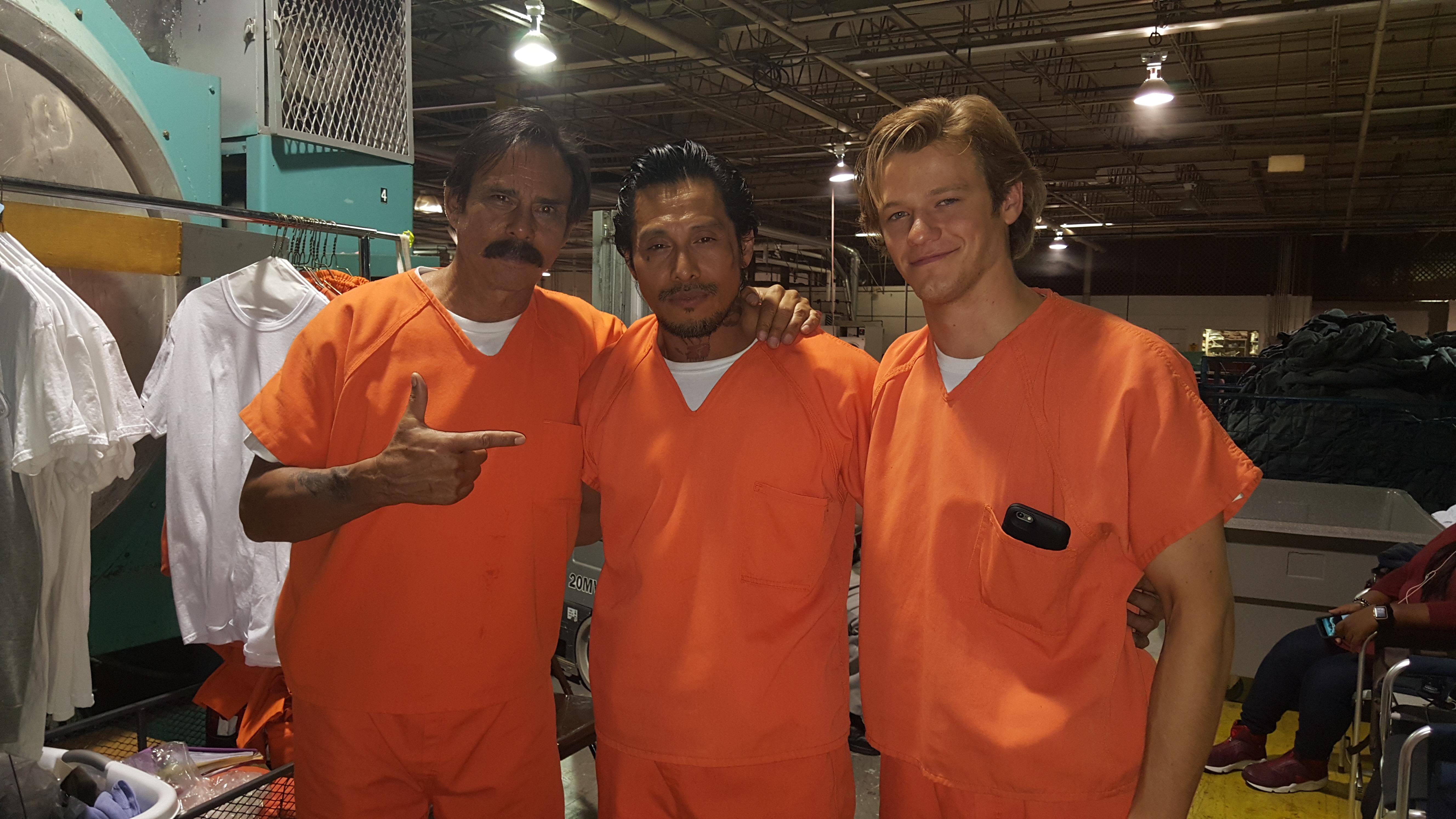 SAM MEDINA AND LUCAS TILL AND RAOUL MAX TRUJILLO ON SET OF MACGYVER TV SERIES 2016