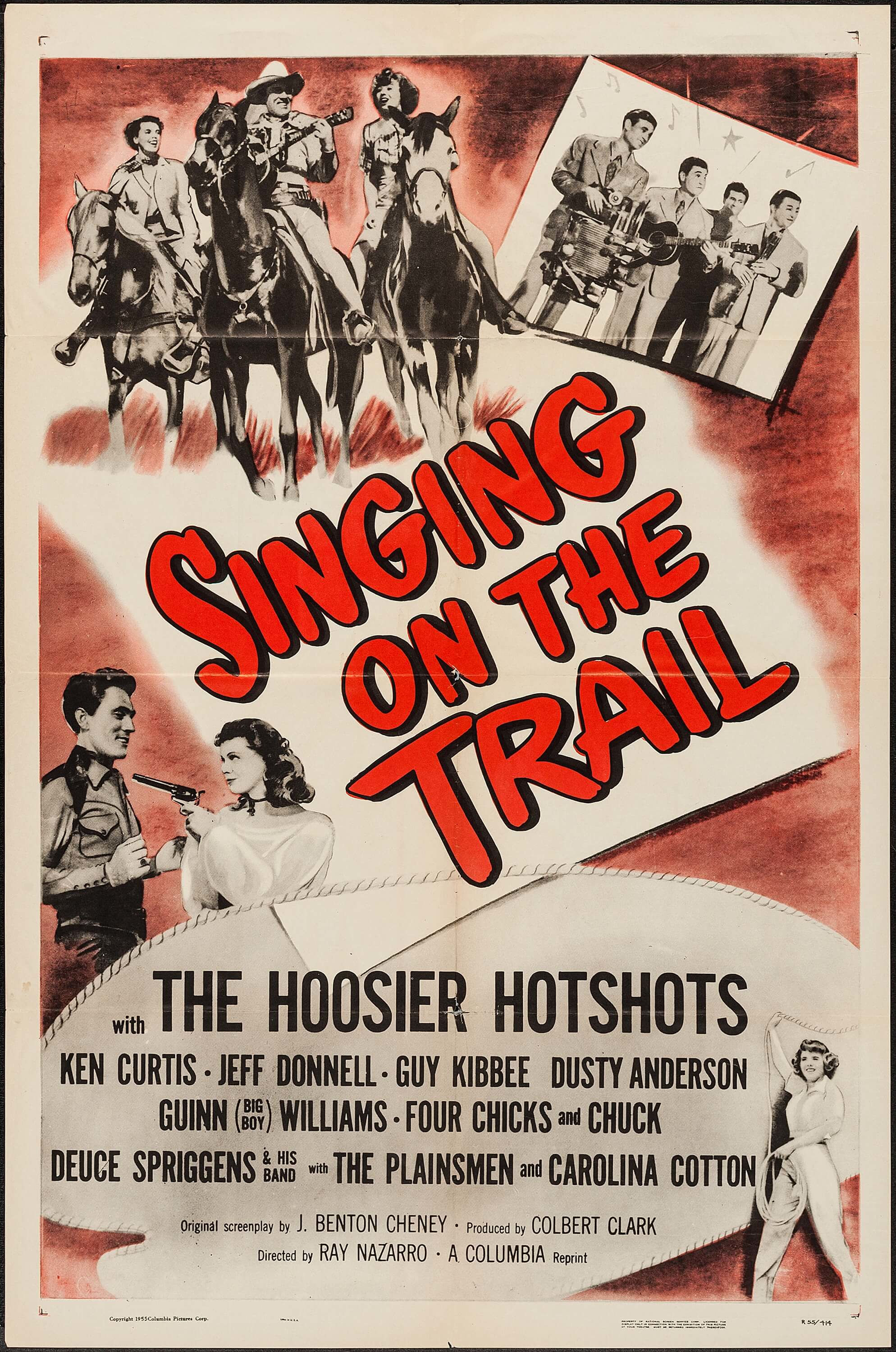 Dusty Anderson, Ken Curtis, Jeff Donnell, Gil Taylor, Paul Trietsch, Ken Trietsch, Charles Ward, and The Hoosier Hotshots in Singing on the Trail (1946)