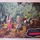 William Bishop, Preston Foster, and Mary Stuart in Thunderhoof (1948)