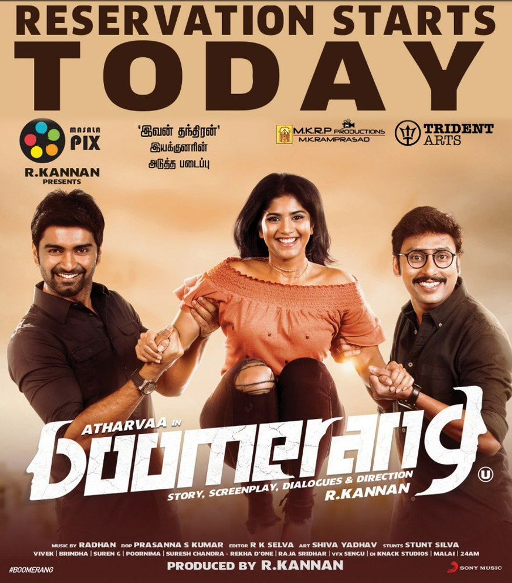 Atharvaa Murali, RJ Balaji, and Megha Akash in Boomerang (2019)