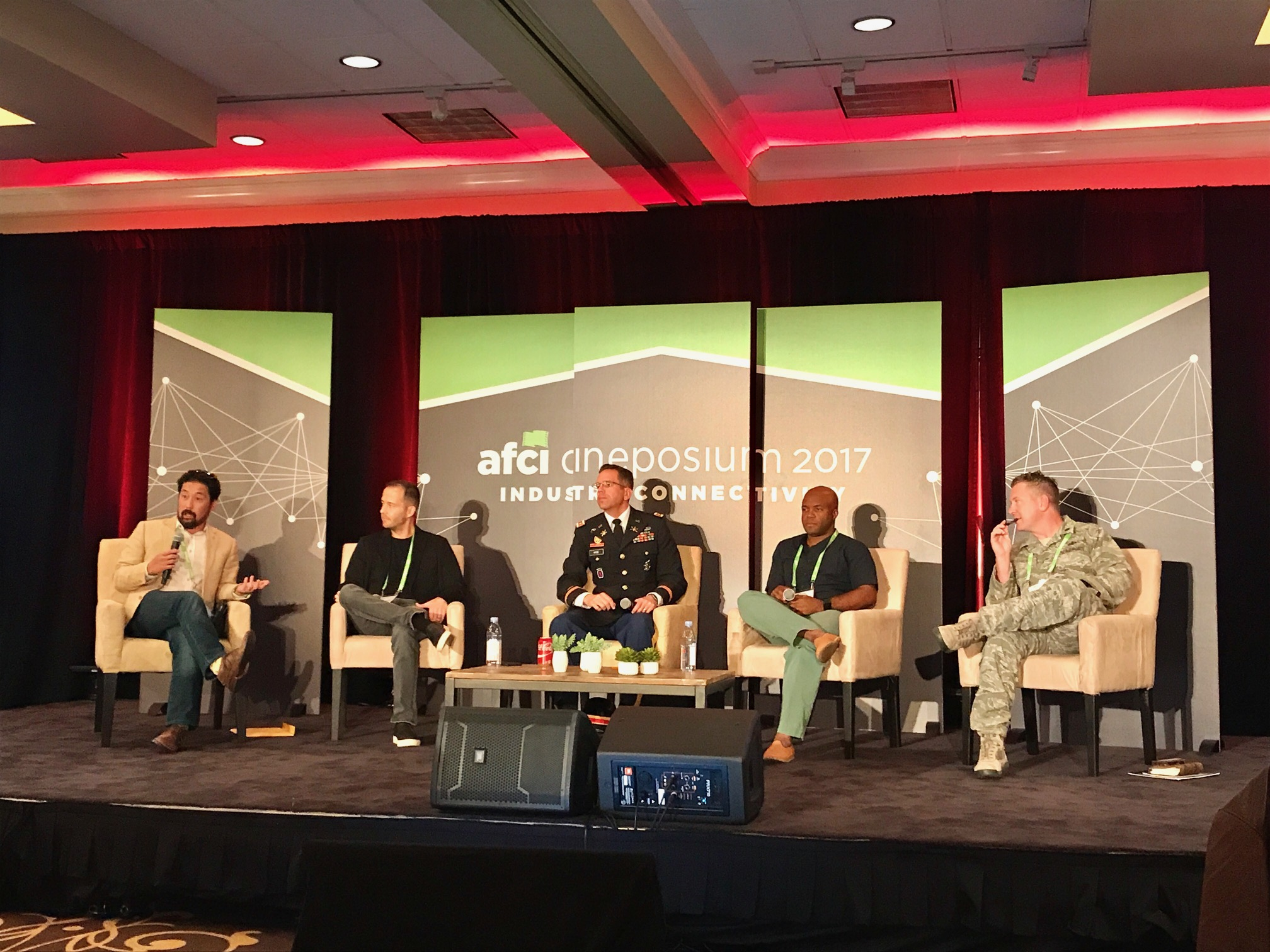 Kent Matsuoka moderates a panel on filming with the military for AFCI Cineposium 2017. Pictured L-R Kent Matsuoka; Mikko Alanne; Lt Col Timothy Hyde, USA; CAPT (ret) John Pruitt, USCG; Lt Col Nathan Broshear, USAF - Oct 2017