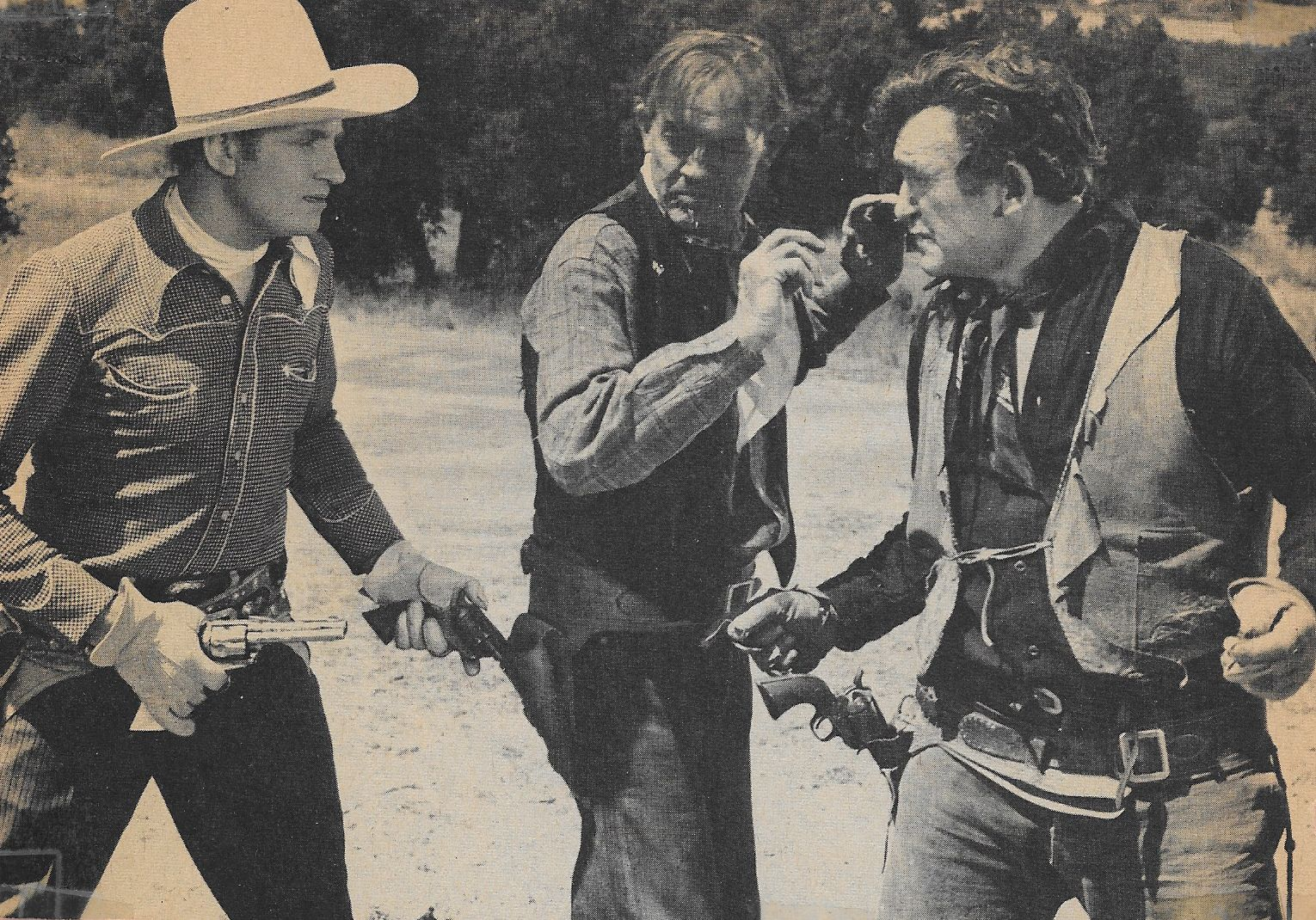 Gene Autry, Tom London, and Bud Osborne in Prairie Moon (1938)