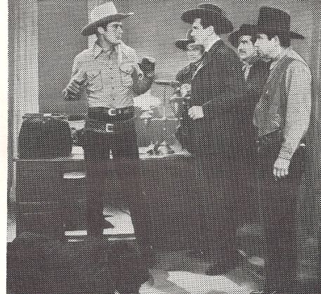 Ray Bennett, Dick Botiller, John Calvert, and Charles Starrett in The Return of the Durango Kid (1945)